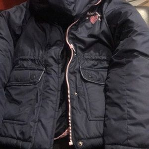 Navy Blue and Pink Girls Coat with Liner